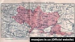 Етнографічна оглядова карта України, видана у Відні в 1916 році. Автор: Степан Рудницький