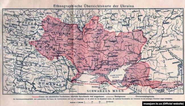 Етнографічна оглядова карта України, видана у Відні у 1916 році. (Щоб відкрити мапу у більшому форматі, натисніть на зображення. Відкриється у новому вікні)