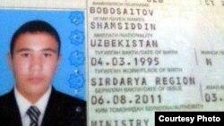 Guliston davlat universitetining paxtada o'lgan talabasi 19 yashar Shamsiddin Bobosaidovning pasportidan nusxa.