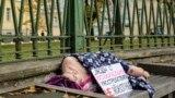 Russia--St.Petersburg. Activist Anastasia Larkina during a suicide prevention action.