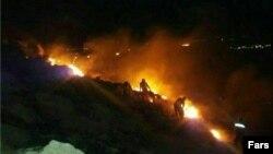 آتشسوزی در ارتفاعات کرمانشاه و انفجار چند مین بر اثر آن