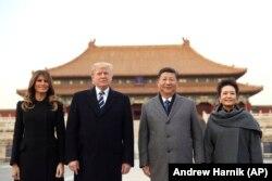 Мэланія Трамп, Дональд Трамп, Сі Цзіньпін, Пэн Ліюань, Пэкін, лістапад 2017