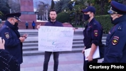 Артем Дудич, участник акции в поддержку Навального в Ялте