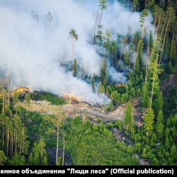 Горящие деляны в лесах Красноярского края, август 2021 года