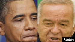 A combo photo of U.S. President Barack Obama (left) and Uzbek President Islam Karimov (undated)