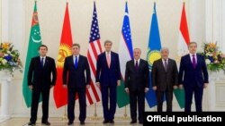 Uzbekistan -- Central Asian Foreign Ministers pose for a photo with US Secretary of State John Kerry in Samarkand, November 1, 2015