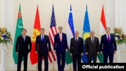 Central Asian Foreign Ministers pose for a photo with U.S. Secretary of State John Kerry in Samarkand on November 1.