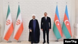 باکو - حسن روحانی و الهام علیاف، روسای جمهور ایران و آذربایجان