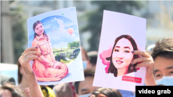 """A protest in Bishkek over the death of 27-year-old Aizada Kanatbekova, who was abducted and killed in a suspected """"bride"""" kidnapping."""