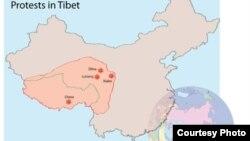 Тибеттің картасы. (Көрнекі сурет).