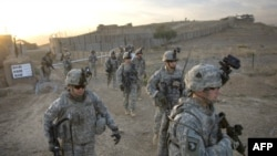 U.S. soldiers patrol near Afghan-Pakistan border