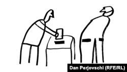 """Desen de Dan Perjovschi """"Ai grijă ce votezi!"""""""