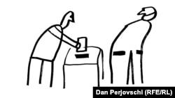 """Desen de Dan Perjovschi. """"Ai grijă ce votezi"""""""