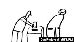 """Desen de Dan Perjovschi """"Ai grijă ce votezi"""""""