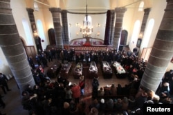 Прощание с семьей Аветисян 15 января 2015 года