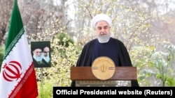 Iranian President Hassan Rouhani delivers a televised speech on the occasion of the Iranian New Year Nowruz, in Tehran, Iran March 20, 2020.