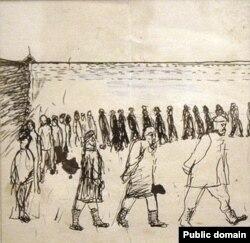 Раман Семашкевіч. Прагулка ў турме. 1932 год