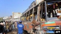 اتوبوس مورد حمله در حادثه روز جمعه کراچی