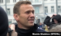 Aleksey Navalny attends a rally in Moscow on September 29.