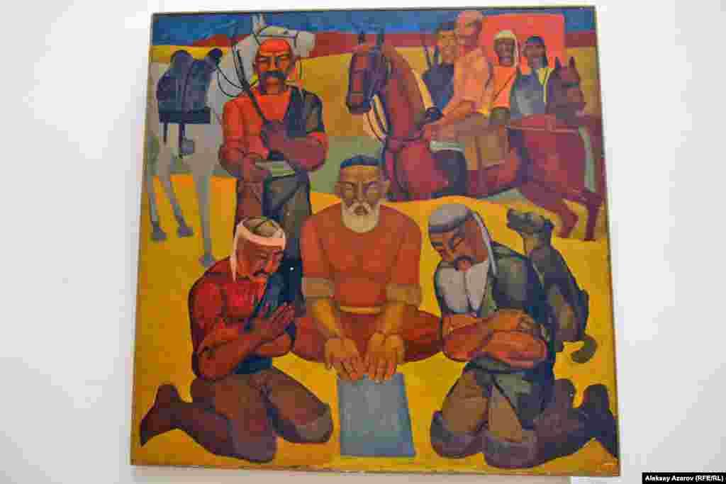 На выставке экспонируется и одна часть триптиха «1916 год. Восстание» художника-шестидесятника Абдрашита Садыханова. Триптих создан в 1969 году. Местные искусствоведы говорят, что этот триптих звучит романтически и все его персонажи напоминают богатырей народного фольклора.