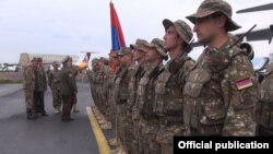 Armenia - A farewell ceremony of Armenian troops heading to Tajikistan to take part in CSTO exercises, Yerevan, 14May2015.