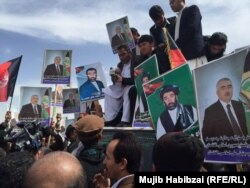 Dostum's supporters held a protest rally in Mazar-e Sharif on March 22