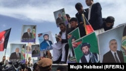 Supporters of Afghan Vice President Abdul Rashid Dostum rally in Mazar-e Sharif on March 22.