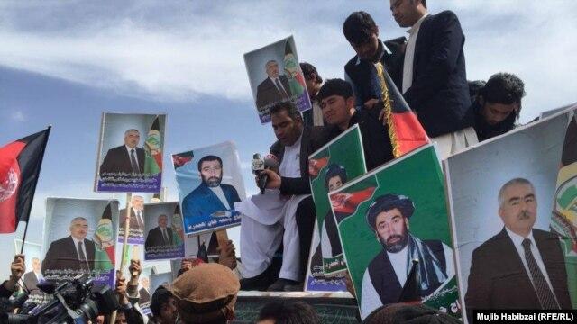 Supporters of Afghan Vice President Abdul Rashid Dostum rally in Mazar-e Sharif on March 22.