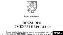 Қазақ босқыны Қайрат Досметовтің ісі бойынша чех соты шығарған шешімнің алғашқы беті. Прага, 14 қаңтар 2010 жыл.