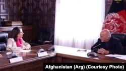 Маргарыта Роблес сустракаецца з прэзыдэнтам Аўганістану Махамадам Ашрафам Гані, 2018 год.