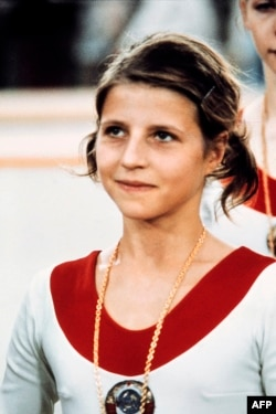 Вольга Корбут падчас Алімпіяды ў Мюнхене. 1972