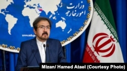 Iran -- Iranian foreign ministry spokesman, Bahram Ghasemi speaks during a press conference in Tehran, on May 21, 2018.
