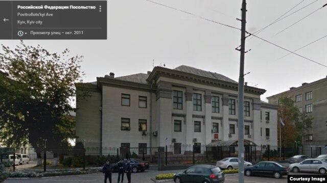 Фото здания российского посольства в Киеве. Снимок не связан с последними событиями