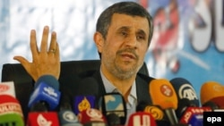 Former Iranian president Mahmoud Ahmadinejad speaks during a press conference in the capital Tehran on April 5, 2017.
