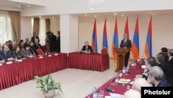 Armenia -- President Serzh Sarkisian speaks at an international conference on genocide, 14Dec2010.