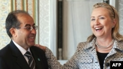 U.S. Secretary of State Hillary Clinton meets with Mahmud Jibril, chairman of Libya's opposition Transitional National Council, in Istanbul on July 15.