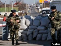 Punct de control ucrainean la intrarea în regiunea Odesa, pe segmentul transnistrean al graniţei moldo-ucrainene, martie 2014