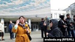 Ларыса Шчыракова на мітынгу 25 сакавіка, Гомель