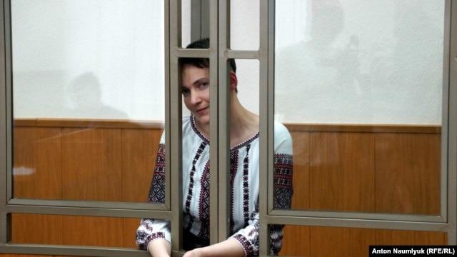 Ukrainian pilot Nadezhda Savchenko follows trial proceedings in a Russian court earlier this month.