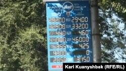 Ақша айырбастау пункті алдындағы доллар бағамы көрсетілген табло. Алматы, 16 қыркүйек 2015 жыл.