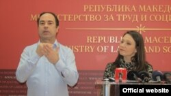 Labor Minister Rashela Mizrahi (right) makes an official press appearance on February 6.