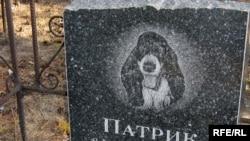 Надгробная плита на могиле собаки. Семей, октябрь 2009 года.