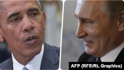 АҚШ президенті Барак Обама (сол жақта) мен Ресей президенті Владимир Путин.