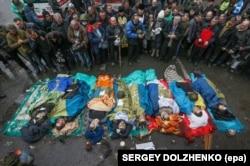 Загиблі учасники Революції гідності на майдані Незалежності в Києві, 20 лютого 2014 року