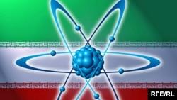 Iran -- Iran flag with atom model, 03Nov2009