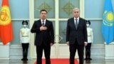 KAZAKHSTAN -- Kazakh President Qasym-Zhomart Toqaev (R) and Kyrgyz President Sadyr Japarov meet in Nur-Sultan, March 2, 2021