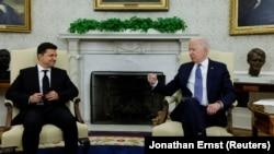 Президент Украины Владимир Зеленский (слева) и президент США Джо Байден на встрече в Белом доме. 1 сентября 2021 года
