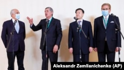 Attendees at the Moscow conference included, from left to right, U.S. Special Envoy Zalmay Khalilzad, Russian Special Representative for Afghanistan Zamir Kabulov, Chinese Ambassador to Afghanistan Wang Yu, and Pakistan's special representative, Mohammad Sadiq.