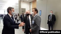 Брисел- Македонскиот министер за надворешни работи Бујар Османи и државниот секретар на Соединетите Американски Држави Ентони Блинкен на маргините на министерскиот совет на НАТО, 23.03.2021