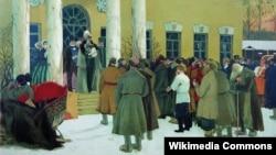 Кустодиев Б.. Чтение манифеста (Освобождение крестьян). 1907